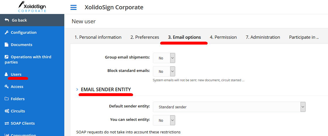 Users - Email sender entity