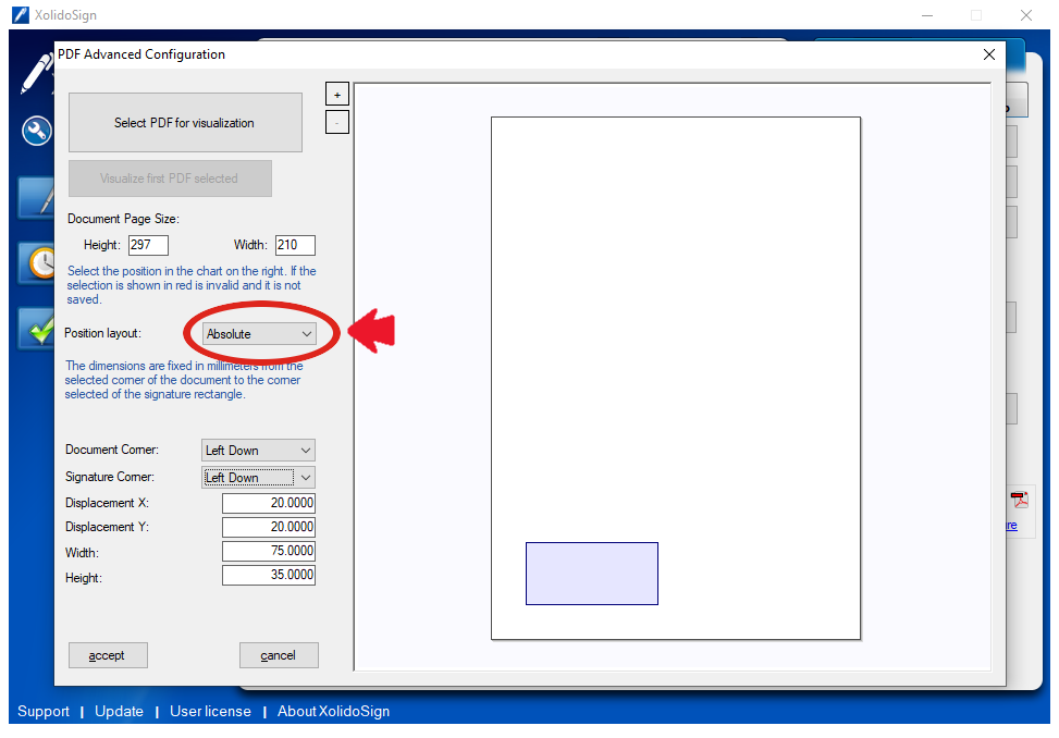 XolidoSign Desktop -Visible signature mark on PDF document